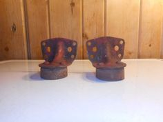 Antique Barn Door Cannonball Roller Track End Caps Matching Pair
