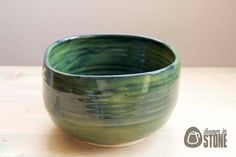 Bowl - Spinach Green Stoneware Dish - Handmade squared Bowl - Home Decor by ThrownInStone