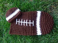 Crochet football hat and cocoon set
