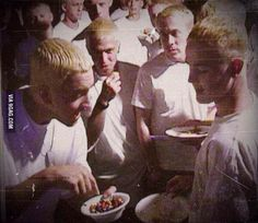 Eminem giving out M&Ms to the other Eminems who are not the real Slim Shady so why are they standing up? The Real Slim Shady, Eminem Funny, Eminem Memes, Eminem Rap, Eminem Music, Music Songs, Memes Humor, Jokes, Logic Memes