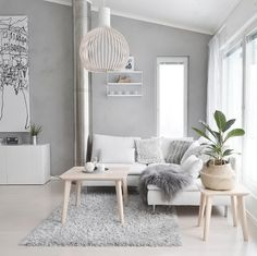 Gorgeous White Living Room Color Scheme That Will Amaze You - wohnzimmer ideen Living Room White, Home Living Room, Apartment Living, Small Living, Apartment Ideas, Modern Living, Living Room Without Sofa, Nordic Living Room, Cozy Living
