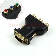 New 15 Pin VGA Male to 3 RCA Female M/F Adapter Connecter Converter Black #R179T#Drop Shipping #Affiliate