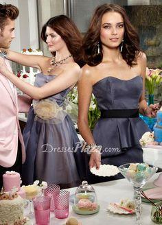 allure graphite organza strapless a line short bridesmaid dress flower belt