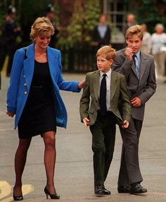 Diana, Princess of Wales with her sons Prince Harry and Prince William.
