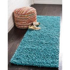 Unique Loom Solid Shag Area Rug - On Sale - Overstock - 21118644 Teal Colors, Vibrant Colors, Thing 1, Teal Area Rug, Outdoor Area Rugs, Material Design, Online Home Decor Stores, Aqua Blue, Blue Green