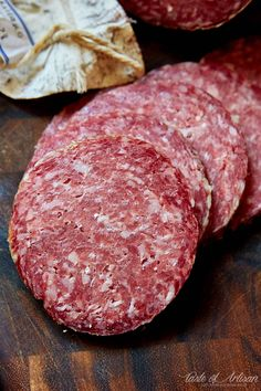 Homemade Milano Salami - Stanley Marianski's recipe for Milano salami, which is essentially the same as Genoa salami. If you are learning how to make salami, this is a good recipe to try. Homemade Salami Recipe, Homemade Sausage Recipes, Vegan Salami Recipe, Yummy Recipes, Recipies, How To Make Salami, How To Make Sausage, Snacks, Sausages