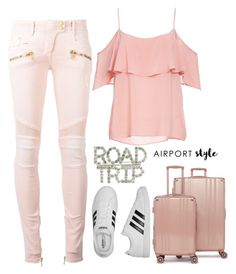 """Untitled #747"" by vane-25 ❤ liked on Polyvore featuring Balmain, BB Dakota, adidas and CalPak"