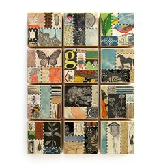 Insects - Collage ART BLOCK - Original Mixed Media Collage. $18.00, via Etsy.