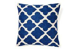 Maharani Embroidered 16x16 Pillow, Blue