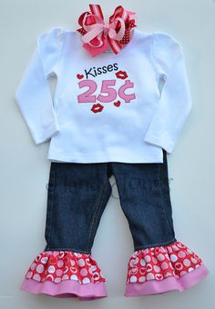 Kisses 25 cents*~* Valentines Set *~*Custom Double Ruffle Jeans, Applique Shirt, and OTT Hairbow