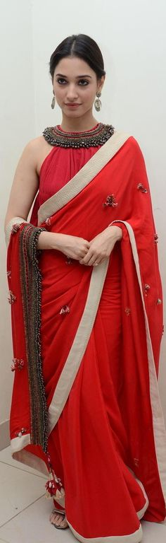 Pinterest @Littlehub  || Six yard- The Saree ❤•。*゚|| Tamannah bhatia , in a beautiful saree
