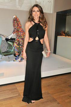 f1c4e602a3d83 April 1 2014 Elizabeth Hurley in a dress by Roberto Cavalli. Bulgari  Jewelry