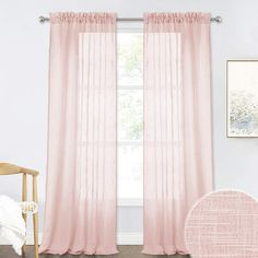 RYB HOME Linen Textured Sheer Curtains for Farmhouse, Solid Voile Drapes Light Through Drapery Window Decoration for Patio Doorway/Dinning Area, Blush Pink, Width 52 inch x Length 95 inch, Set of 2 Pink Sheer Curtains, Plain Curtains, Thick Curtains, Ruffle Curtains, Sheer Curtain Panels, Velvet Curtains, Grommet Curtains, Hanging Curtains, Drapery