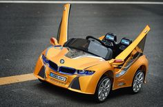 2016 New BMW i8 Style Ride On Car For Kids with RC and LED Wheels   Yellow