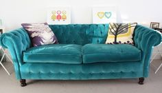 Teal couch - starting to think I'd like a bold item in my second living room! :)