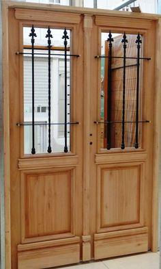 Puerta doble de madera colonial estilo antigua mi casa for Puertas blindadas antigua casa gutierrez