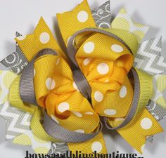 Hair bow yellow and grey Boutique Bows