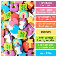 How to make rainbow icing colors - a cookie decorating icing color palette with formulas ~ LilaLoa Cookie Decorating Icing, Cookie Icing, Royal Icing Cookies, Decorating Tips, Iced Cookies, Cute Cookies, Sugar Cookies, Crazy Cookies, Icing Color Chart