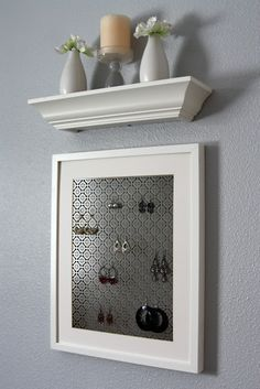 Frame a bit of radiator grate for a stylish earring disply. -- IHeart: Valentines Day and an easy DIY project!: IHeart Organizing.