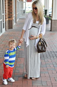 43672a7dd3e34 she has the cutest maternity style. thank god for the maxi dress. Maternity  Style
