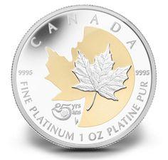 1 oz Fine Platinum Coin - 25th Anniversary of the Platinum Maple Leaf - Mintage: 250 (2013)  $2,999.95
