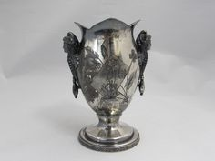 Aurora Silver Plate Aesthetic Movement Figural Vase - Etagere Antiques, Vintage, Collectibles