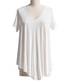 White V-Neck Asymmetrical Tunic - Plus