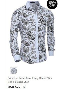 f42fb67c28 Ericdress Lapel Print Long Sleeve Slim Men s Classic Shirt