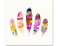 Tribal Feather aquarel Art Print. Feather door SnoogsAndWilde