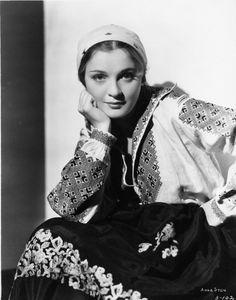 "saisonciel: ""Anna Sten in We Live Again "" Ukrainian Dress, Ukrainian Art, Traditional Fashion, Traditional Outfits, Folk Fashion, Womens Fashion, Eleanor Powell, Medieval Costume, Classic Actresses"
