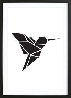 Origami hummingbird framed as Premium Poster