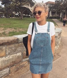 d3ab730ab02 Cute denim overall dress with white tee. Denim Dungaree Dress Outfit, Denim  Pinafore Dress