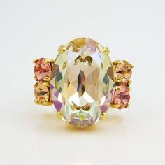 Champagne Peach Pink Adjustable Ring Statement Ring by TIMATIBO, $31.00