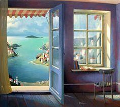 Toegang tot de toekomst | interieur schilderij in acrylverf van Michiel Schrijver | Exclusieve kunst online te koop in de webshop van Galerie Wildevuur