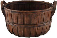 Split Wood Gathering Basket w/ Handles - Baskets & Bins - Baskets & Organization - Home Accents - Decor & Entertaining One Kings Lane Vintage Farmhouse, Farmhouse Decor, Country Decor, Rustic Decor, Wood Basket, Alphabet Coloring Pages, Basket Organization, Home Fireplace, Decorating On A Budget