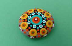 PAINTED BEACH STONE 10 / Pebble Art / Dot Painted Stone /