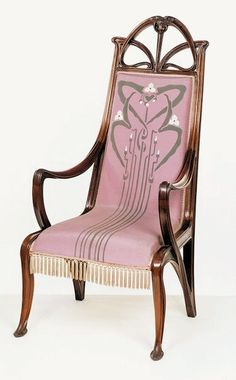 Art Nouveau Louis Majorelle Armchair - 1899-1900 - Carved walnut, stained; back and seat covered with embroidered and painted satin with a fringe - Victoria and Albert Museum Collection, London- @~ Mlle