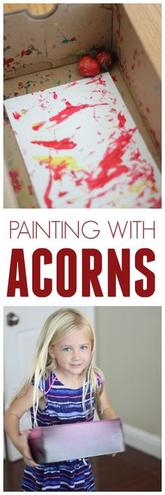 Easy Colorful Toddler Art Painting With Acorns Growing Up On The East Coast Fall Meant Piles Of Leaves Acorns And Cool Fall Preschool Activities, Art Activities, Preschool Crafts, Toddler Activities, Preschool Painting, Toddler Learning, Fall Crafts For Toddlers, Creative Curriculum, Toddler Art