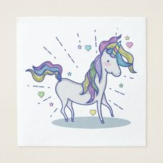 Cute Doodle Rainbow Unicorn Stars Hearts Napkin