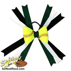 Softball Hair Bow – Forest Green Black - All For New Hairstyles Softball Hair Braids, Softball Hairstyles, Prom Hairstyles, Green Ribbon, Black Ribbon, Ribbon Colors, Messy Bun With Braid, Braided Buns, Messy Buns
