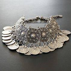 20% OFF Arubu Silver Coin Statement Necklace Gypsy Bohemian Jewelry
