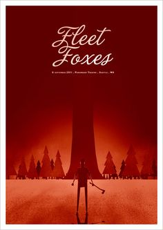 Fleet Foxes gig poster by Rodrigo Maia