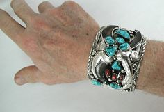 Elaine Sam Navajo Bear Claw Bracelet with Turquoise and Coral stones size 7 wide and heavy I Love Jewelry, Pearl Jewelry, Body Jewelry, Silver Jewelry, Turquoise Cuff, Turquoise Jewelry, Silver Chain Necklace, Silver Earrings, Bear Claws