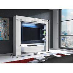 Luxusná obývacia stena MONTEREJ biela extra vysoký lesk s LED :: www.dekorhome.sk Flat Screen, Products, Blood Plasma, Flatscreen, Dish Display, Gadget