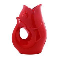 decor, product, famili, gurgl pitcher, gurgl pot, bright red, gurglepot red, gift idea, fish pitcher