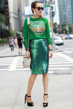 Sweatshirt + Sequins pencil skirt