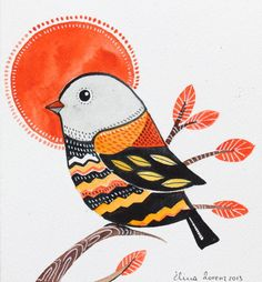 Home decor / Bird Art / Decorative / Nursery decor / Art / Gift / black Orange/ tree/ organic on Etsy, $19.99