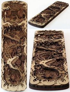 Great laser cut wood piece, great depth and detail, from Ponoko