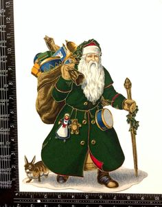 Vintage SANTA MAGNET Green Coat Father by MagnetsbyDesign on Etsy School Lockers, Santa Suits, Old World Style, Green Coat, Father Christmas, Vintage Santas, Winter Wonderland, Christmas Ornaments, Holiday Decor