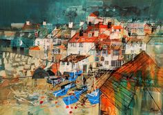 """""""Blue Fishing Boats, Port Isaac"""" by Mike Bernard (Undated) Mike Bernard, Places In Cornwall, Amalfi Italy, Port Isaac, Mixed Media Artists, Retro Art, Fishing Boats, Impressionist, Old Things"""